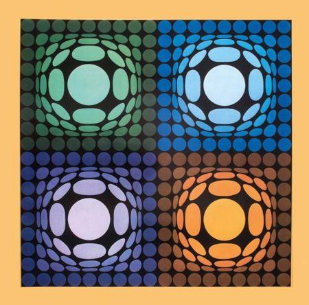Heliogravüre Vasarely - '' VEGA BI ARCT ''