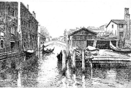 Radierung Cotugno  - Venezia, squero di San Trovaso