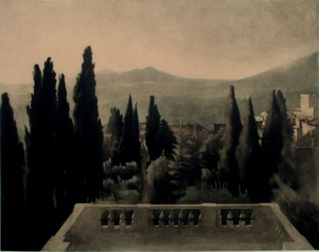 Mezzotinto Ilsted - View from Villa D'Este