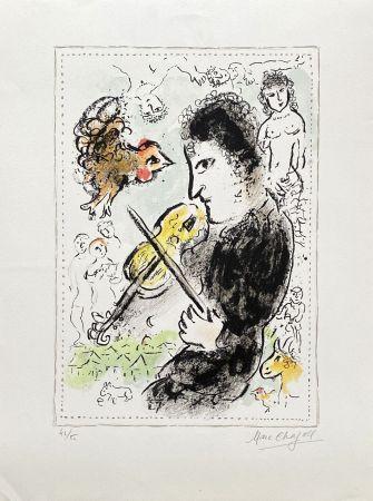Lithographie Chagall - Violoniste au coq