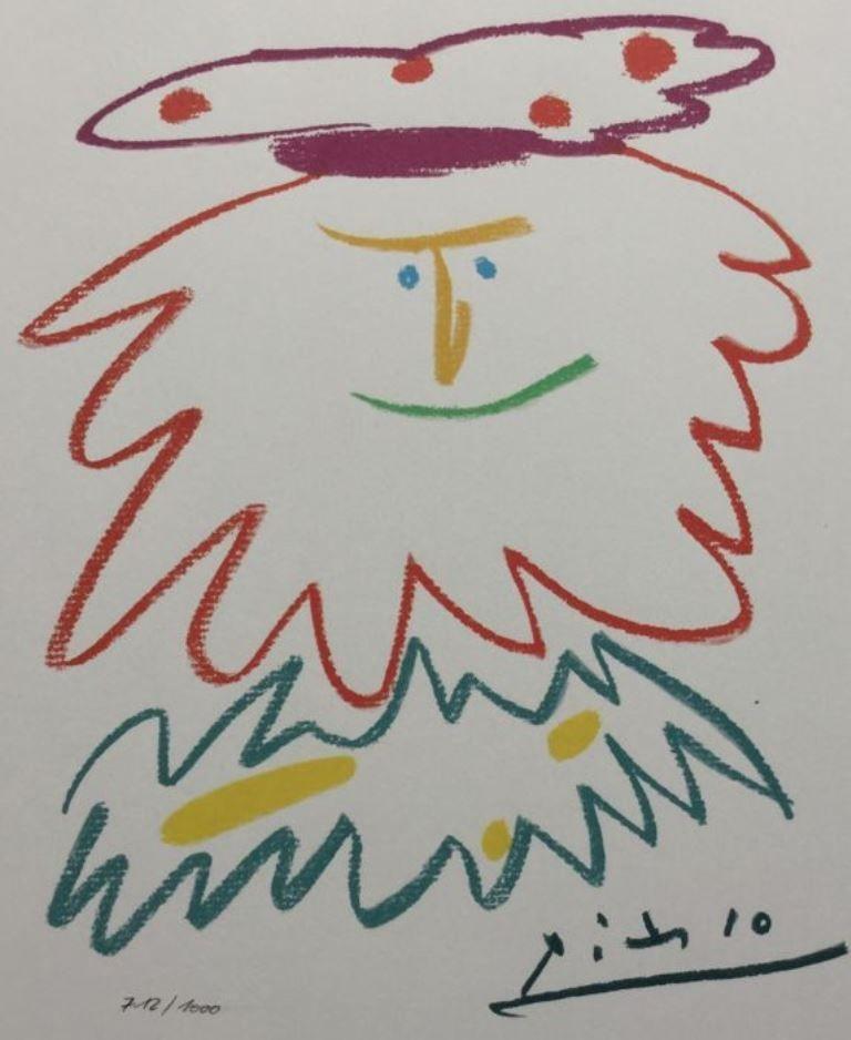 Lithographie Picasso (After) - VISAGE BARBU (1958)