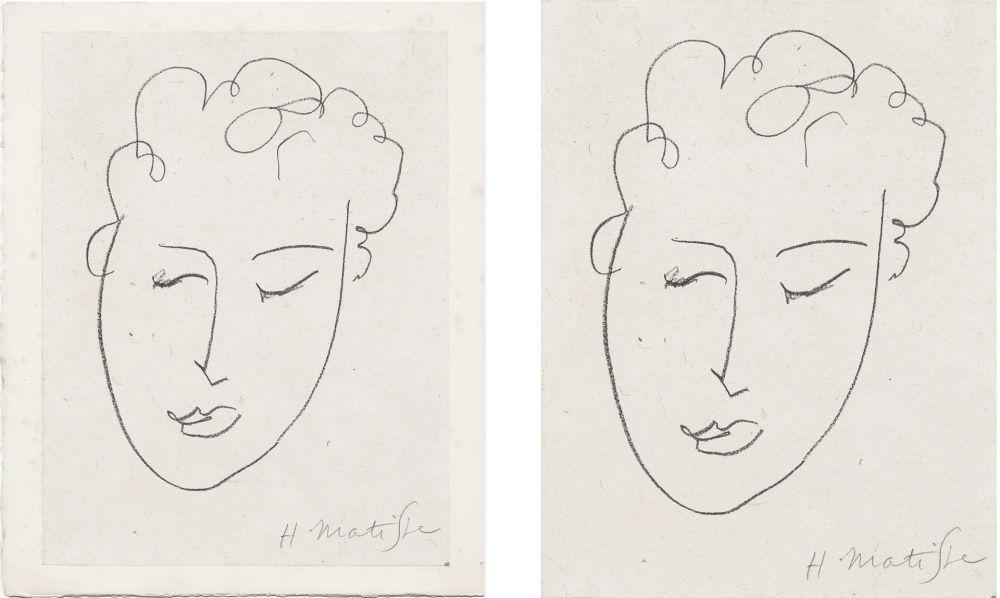 Lithographie Matisse - VISAGE DE FEMME. Pour Jules Romains : Pierres Levées, poèmes. Paris 1948