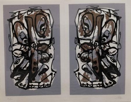 Lithographie Saura - Visages