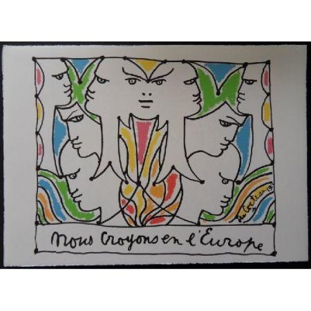 Lithographie Cocteau - Visages de l'Europe
