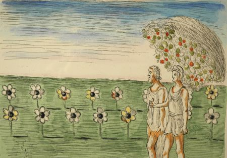 Radierung De Chirico - Visione misteriosa