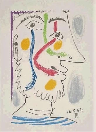 Lithographie Picasso - Viso colorato
