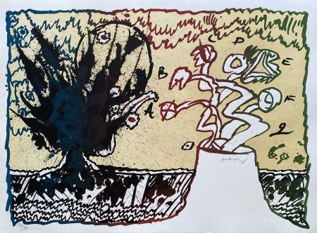 Lithographie Alechinsky - Volcan alphabétique