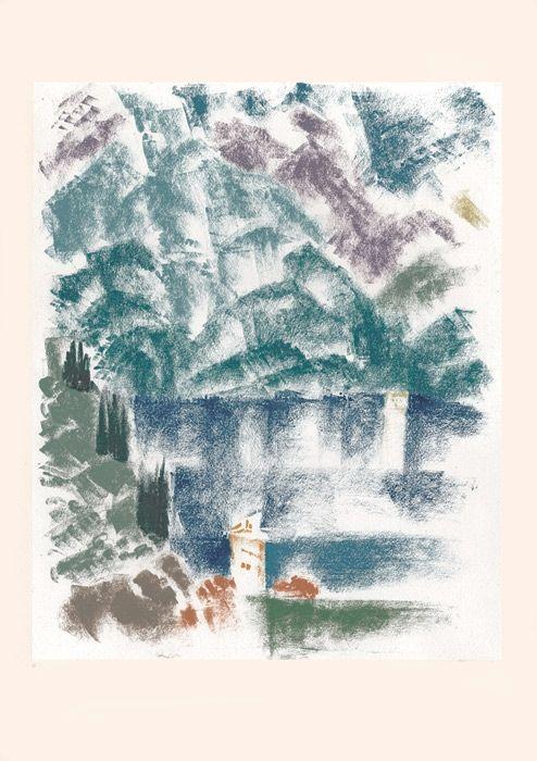 Lithographie Masson - Voyage à Venise : Le lac de Come