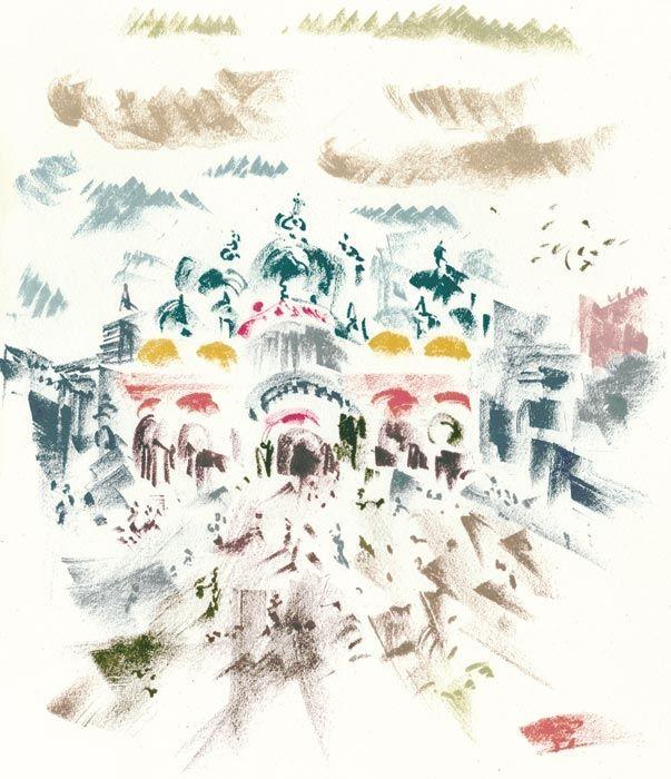 Lithographie Masson - Voyage à Venise : Place Saint-Marc