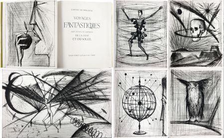 Illustriertes Buch Buffet - VOYAGES FANTASTIQUES AUX ÉTATS ET EMPIRES DE LA LUNE ET DU SOLEIL (Cyrano de Bergerac) 1958.