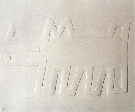 Siebdruck Haring - White Icons: Barking Dog