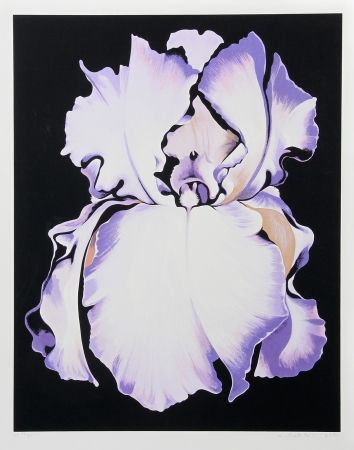 Siebdruck Nesbitt - White Iris On Black