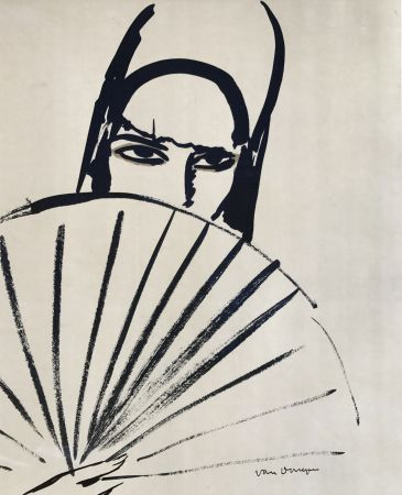 Lithographie Van Dongen - Woman With Fan