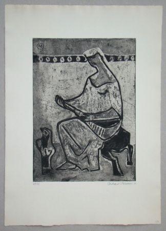 Radierung Und Aquatinta Schlotter - Woman with mandolin