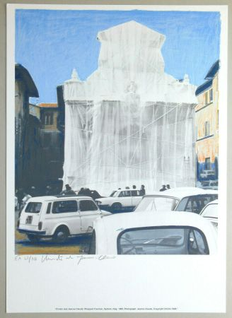 Lithographie Christo - Wrapped fountain, Spoleto 1968