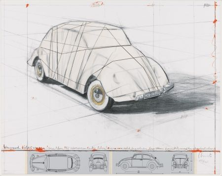 Lithographie Christo - Wrapped Volkswagen (PROJECT FOR 1961 VOLKSWAGEN BEETLE SALOON)