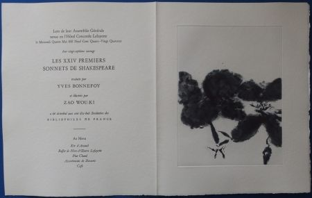 Radierung Und Aquatinta Zao - XXIV Sonnets pour Shakespeare (Menu)