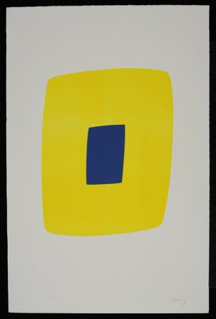 Lithographie Kelly - Yellow with Dark Blue VI.12