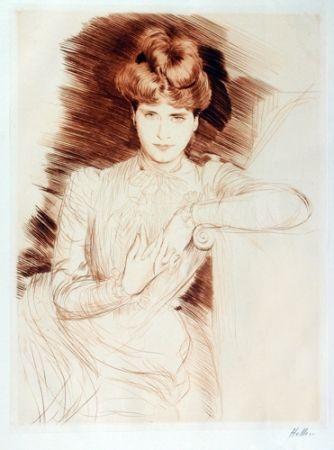 Kaltnadelradierung Helleu - Young Woman Leaning - Madame Helleu