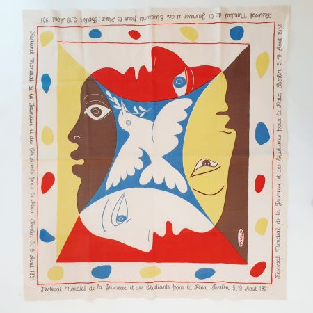 Siebdruck Picasso - YOUTH FESTIVAL SCARF 1951
