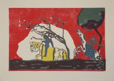 Holzschnitt Kandinsky - Zwei Reiter vor Rot.
